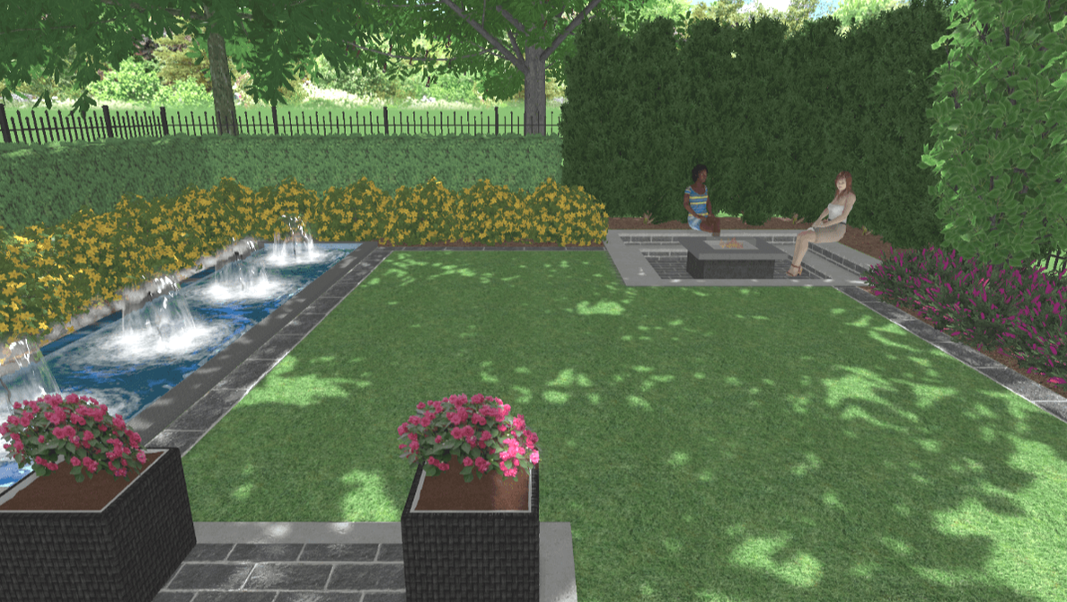 Garden with rectangular theme, water theme and fireplace, Toronto, GTA